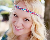 Braided Boho Headband - Hot Pink and Blue