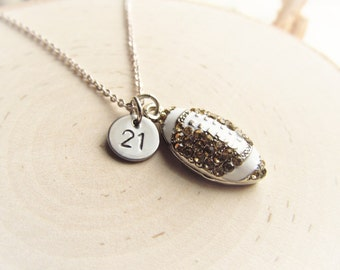 Football Mom Necklace, Number Disc and Rhinestone Football, Personalized Sports Jewelry, Football Mom Bling, Football Girlfriend Necklace