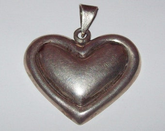 Huge Puffy Heart Pendant Sterling Silver Taxco Mexico