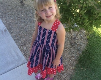 Girls 4th of July Dress, Girl Baby Toddler Patriotic Dress, Stars and Stripes, Red White and Blue by Hopscotch Avenue