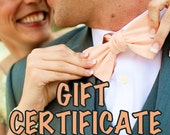 Gift Certificate - Handmade by Emy - One Necktie or Bow Tie - Never Expires!