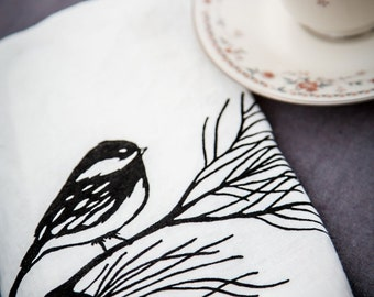 Linen Tea Towel  -  Organic Kitchen Towel - Chickadee - Hand Screen Printed Dish Towel