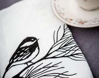 Linen Tea Towel  -  Organic Kitchen Towel - Chickadee - Hand Screen Printed Dish Towel