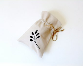 Linen gift bag, drawstring pouch, hand stenciled bag, black branch design, ecofriendly reusable, jewelry travel pouch, bridal favor