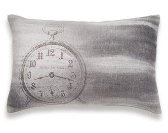 White Taupe Retro Clock Print Lumbar Pillow Cover 12x18 inch Beige Charcoal  Natural Linen One Of A Kind