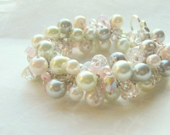 Bridesmaid Blush Petal Pink ROSE GLOW, Gray, Soft White, Ivory, Pearl Wedding Bracelet, Hand Knit Cluster, Crystal, Sereba Designs