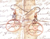 Copper Gear earrings dangle style Simply steampunk choice of ear wires