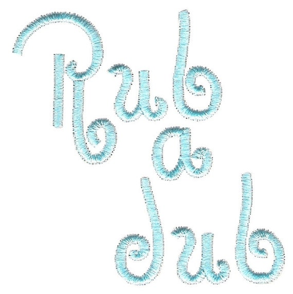 Bath machine embroidery design. Rub a dub text by Embroidalot