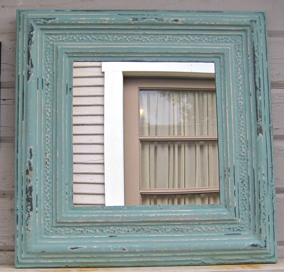 Framed Antique Tin Ceiling Tile Mirror Circa 1910 Turquoise