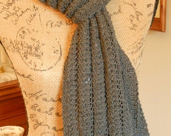 Scarf - Long Gray Sequined Lace