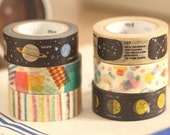 mt for kids Japanese Washi Masking Tape SINGLES- Stripes, Drops, Planets for birthday party, deco kids rooms, kids art projects