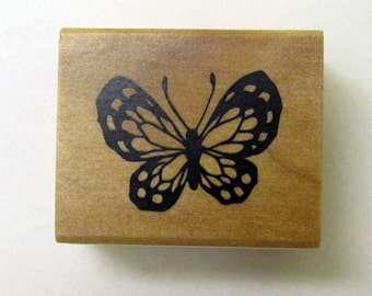 Pretty Japanese Butterfly Wooden Rubber Stamp for cards, tags invitations making, scrapbooking, packaging