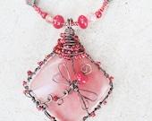 Copper Wire-wrapped Dragonfly Pendant Handmade Necklace Pink Semi-precious Raspberry Jasper Stone Rose Quartz By Distinctly Daisy