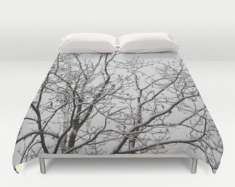 Duvet Cover - Comforter Cover - Winter Tree Branches - White Black - Nature Bedding - King Queen Full Twin