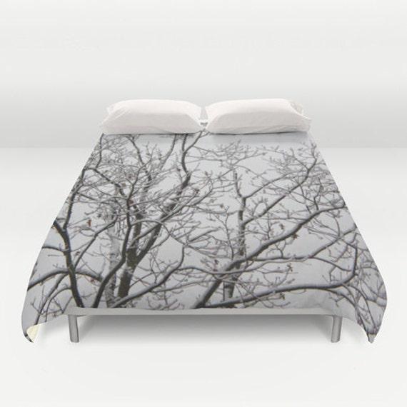 Duvet Cover Comforter Cover Winter Tree Branches White