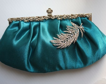 Bridal Clutch - Peacock blue, satin with Swarovski Crystal feather brooch, ready to ship