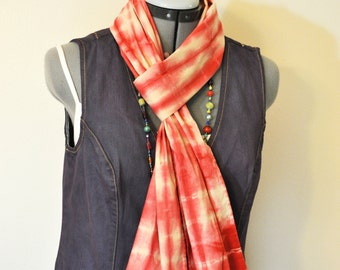 Red Dyed Cotton SCARF - Scarlet Red Tan Hand Dyed Tie Dye Hand Made Shibori Cotton Skinny Scarf  #94 - 8 x 74""