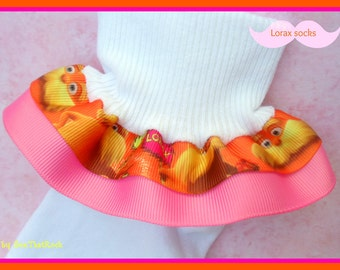 Lorax Dr Seuss double Ruffle Socks with custom grosgrain ribbon...You Choose The Grosgrain Ribbon Color and Size