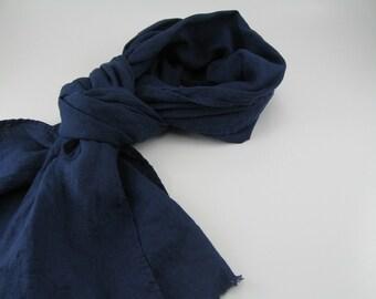 Handmade Linen Scarf --- Cobalt
