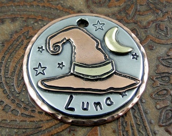 Wizard Hat, Custom, Witch Hat, Dog ID Tag,Personalized Pet ID Tag,Dog Collar ID Tag, Witch Hat with Moon Pendant