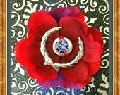 Silver Cadillac Emblem Pabst Cap Red Hair ROSE Flower Rockabilly