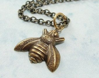 Bumble Bee Necklace, Antique Bronze Bumble Bee Charm on a Bronze Cable Chain