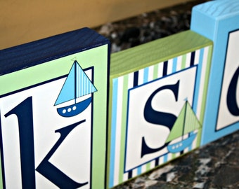 Jackson Collection- Large Blocks- Nautical Theme Personalized Blocks -Sailboats- Inspired by Nautica Zachary Bedding - Baby - Baby Shower-