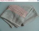 SALE 20% OFF Vintage Rustic Canadian Wool Camp Pieced Blanket gray with orange and pink stripes
