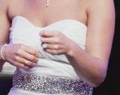 "Wedding Dress Gown Beaded Jeweled Rhinestone Crystal Belt Sash 2"" wide"