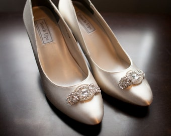 Wedding Bridal Swarovski Crystal Beaded Shoes Clips, bridal shoe clips, wedding shoe brooches