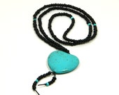 Turquoise Heart Necklace - Beaded Heart Necklace - Heart Jewelry