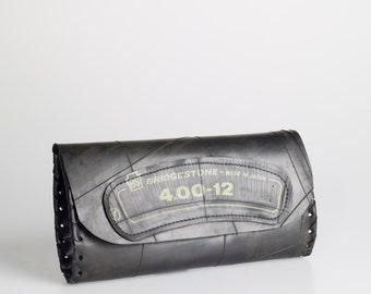 Designer Handmade Clutch, recycled innertube - tough, waterproof, durable yet feminine!