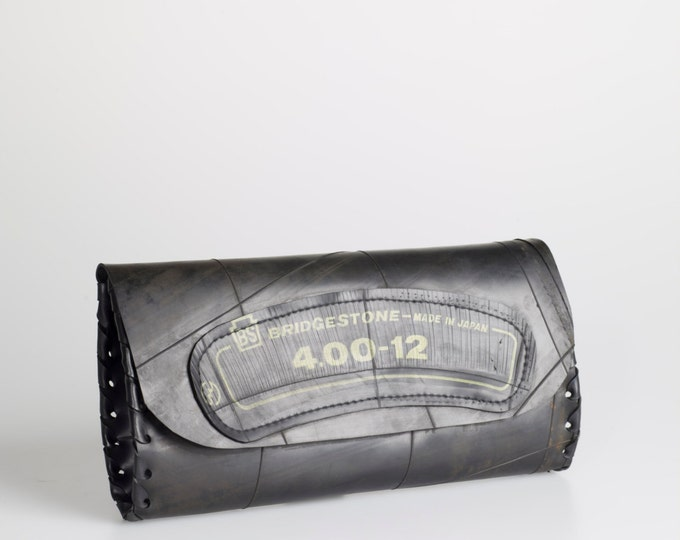 Designer Handmade Clutch, recycled innertube - tough, waterproof, durable yet feminine!