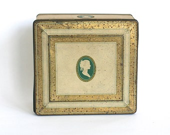 Vintage Tin Gold Green Cameo Silhouette Tindeco