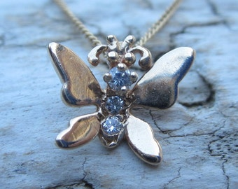 Vintage 14K Yellow Gold and Diamonds Butterfly Pendant on a 14K Yellow Gold Chain Necklace