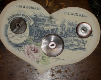 Vintage Mother of Pearl Shell Buttons   Set of 3 Crazy Quilt Embellishments