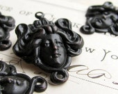Aphrodite link - dark antiqued brass (2 links) woman's face, head, hair, love goddess connector, black patina