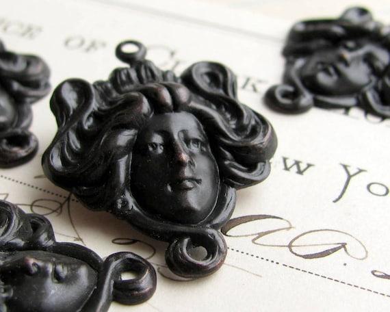 Aphrodite link - dark antiqued brass, 2 links, mythology, woman's face, head, hair, love goddess connector, black patina, Fallen Angel Brass