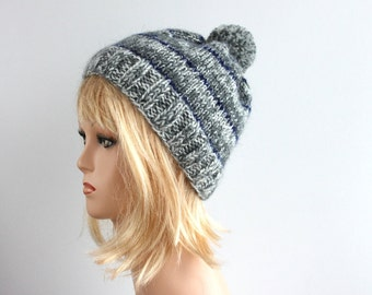 Gray and white beanie knitted oversized beanie, knitted beanie, melange beanie, striped beanie, beanie is ready to ship