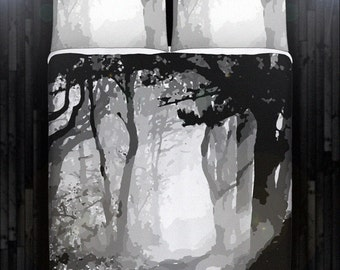 Gray Camouflage Forest Tree Duvet Cover Bedding Queen Size King Twin Blanket Sheet Full Double Comforter Toddler Daybed Kid Teen Dorm