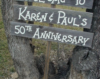 Triple Wood Board Anniversary Wedding Welcome Sign Bridal Ceremony Reception