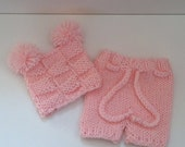 Newborn Baby Diaper Cover and Baby Hat Set, Pick Your Color,  photography prop
