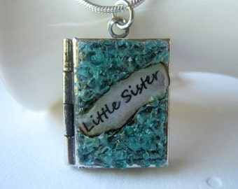 Little Sister Locket December Gemstone Antiqued Silver Turquoise Birthstone Necklace Blue Stained Glass Crystal Pendant Birthday Gift