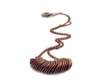 Copper Layering Necklace - Minimalist Slide Necklace - Simple Boho Jewelry - Metal Stacking Necklace
