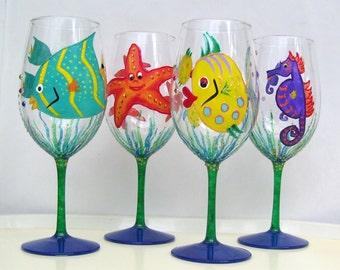Sea Critters Wine Glass Angelfish, Blowfish, Seahorse, Starfish Hand Painted (Custom Order Only)