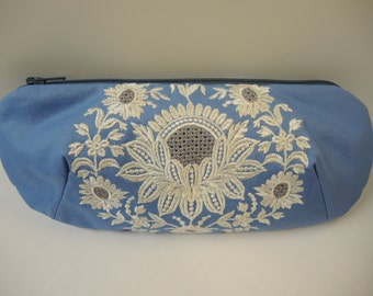 Embroidered Blue Fabric Clutch,  Bags & Purses, Clutches and Evening