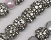 15 X 13 mm Vintage Rhinestones Rondelle Beads Large Silver Toned Classic 10 or 20 Pieces