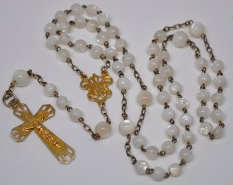 Antique Mother of Pearl and Vermeil Rosary Solid Silver with 24kt Gold Plating