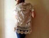 Upcycled Doily Bolero/shrug, Handcrochet  Sleeveless  Sweater; vintage recycled lace