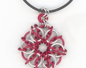 Unisex Red and Silver Pendant, Chainmaille Style, Black Cord Necklace
